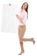 Beautiful woman holding blank board