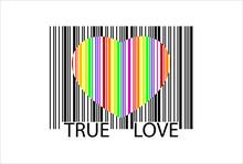 Kolorowy kod kreskowy serca, idealne do sprzedaży, wektor