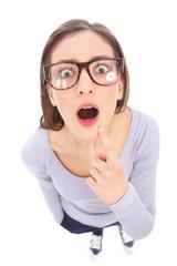 Surprised female nerd