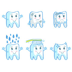 Set of six illustrations with teeth in funny cartoon style