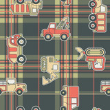 CuteTrucks with tartan background - seamless pattern