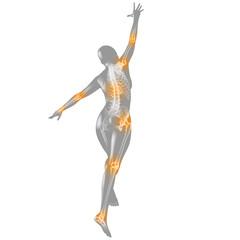 Bewegungsschmerzen: Silhouette mit Skelett