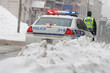 Police car in winter