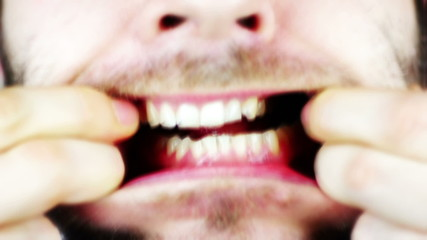 Man mouth macro - spooky