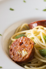 Spaghetti with chorizo