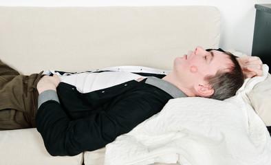 Drunk sleeping kissed husband
