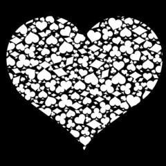 heart with game card symbols, vector