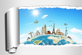 Fototapety Travel the world concept torned paper monument