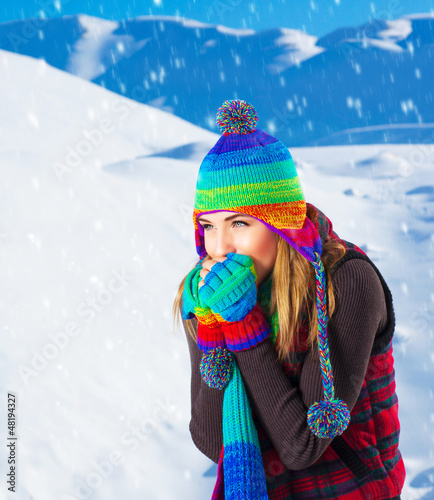 Female in winter mountains