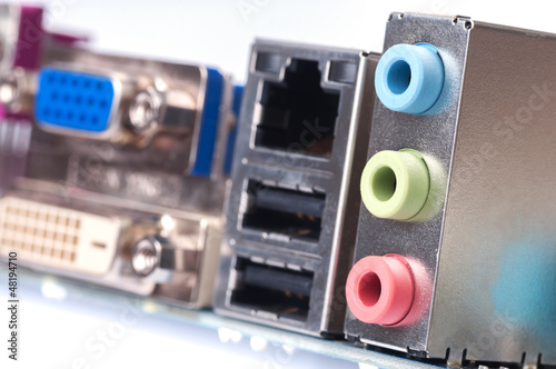 back panel connectors of the modern computer motherboard