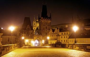 nightly view from Charles Bridge - Prague