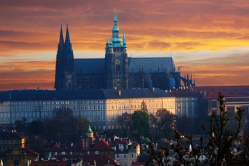 Colorful Prague gothic Castle