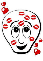 cartoon face with lipstick marks