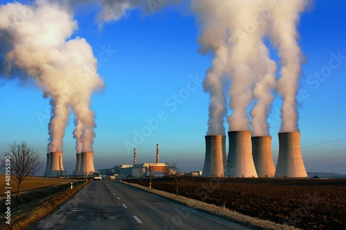 evening view of nuclear power plant Dukovany - Czech Republic