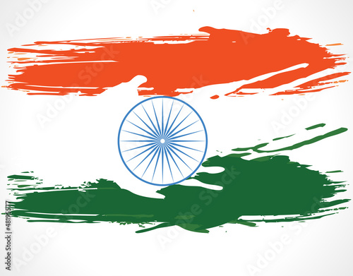 Indian Flag background with Asoka chakra on white background.