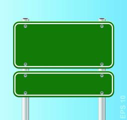 Vector green traffic road sign.