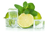 Fresh lime, mint and ice cubes