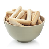 Bread sticks bowl isolated on white