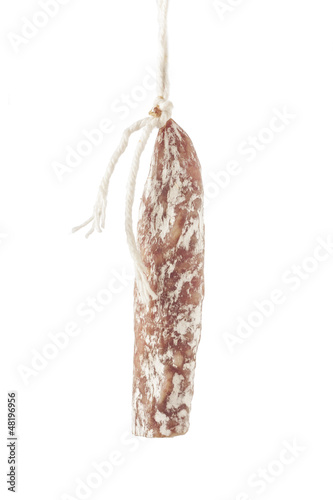 Cured sausage hanging