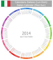 2014 Italian Circle Calendar Mon-Sun