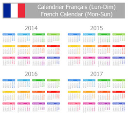 2014-2017 Type-1 French Calendar Mon-Sun