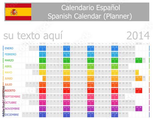 2014 Spanish Planner Calendar with Horizontal Months