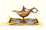 Aladdin magic lamp isolated on white