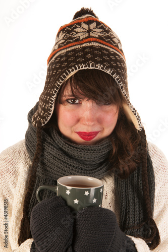 Winter girl with hot chocolate