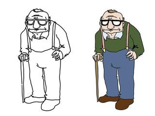 cartoon old man vector