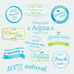 Drinking and Mineral Water Labels and stickers. Vector