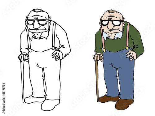 cartoon old man vector