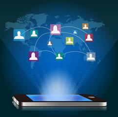 ベクター、スマートフォンとソーシャルネットワーク