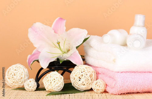 beautiful spa setting on beige background