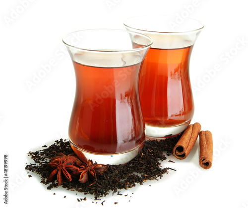 glasses of Turkish tea, isolated on white