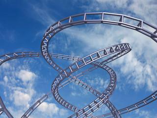 High speed track on blue sky, 3D render.