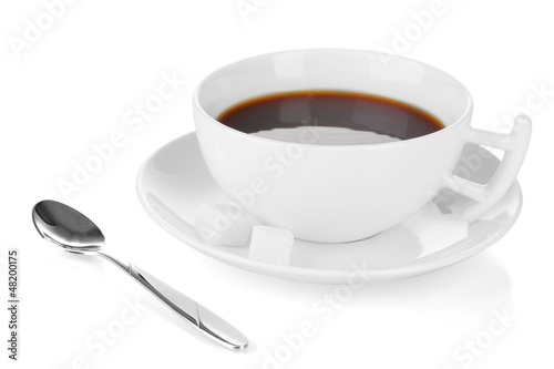 A cup of strong coffee isolated on white