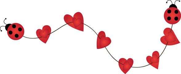 Decorative ladybug ribbon with hearts