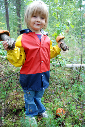 little girl with mushroom