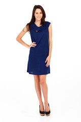 pretty woman in navy blue dress isolated on white