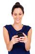 pretty businesswoman reading emails on smart phone