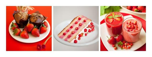 deser owoce dużo słodycze ciasto truskawki poziomki