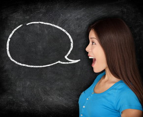 Speech bubble woman student blackboard