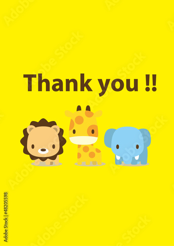 message card : thank you animal 001