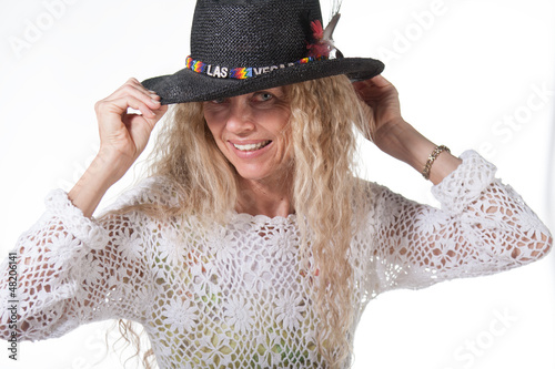 hippie female with las vegas hat