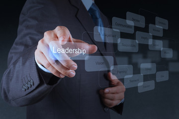 businessman pointing to  leadership skill concept