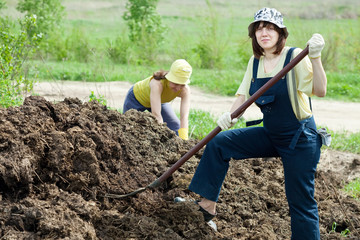 farmers works with manure