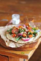 Flat bread with Cherry Tomatoes, Bacon and Chard