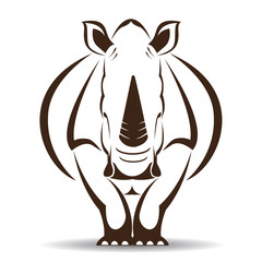 Vector image of an rhino on white background © yod77