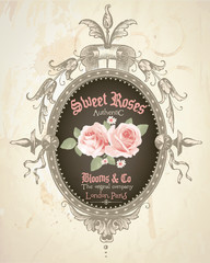 vintage frame illustration with roses