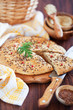 Oat bran and flax seed flatbread, selective focus